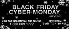 Black Friday and Cyber Monday specials